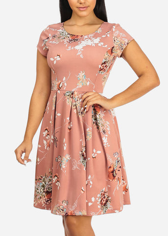 Image of Mauve Floral Fit and Flare Dress