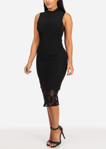 Sexy Sleeveless High Neck Lace Detail Solid Black Midi Dress