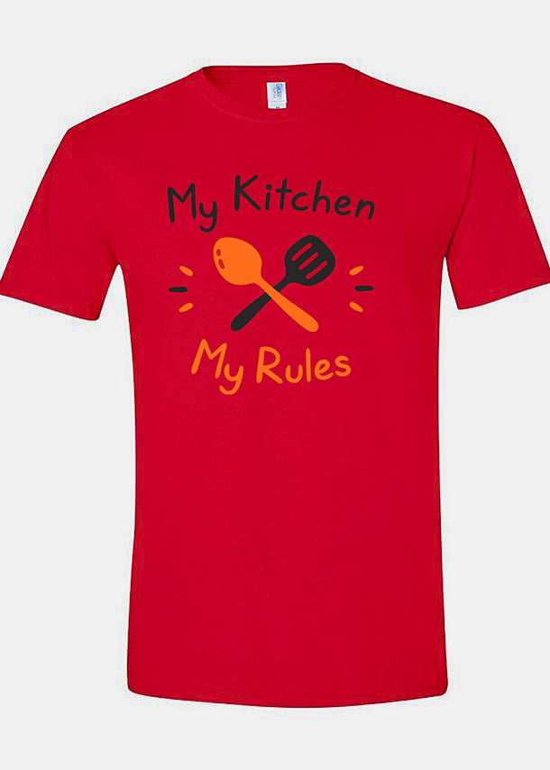 "Red Graphic Top ""My Kitchen My Rules"""