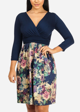 Image of Wrap Front Floral Print Dress