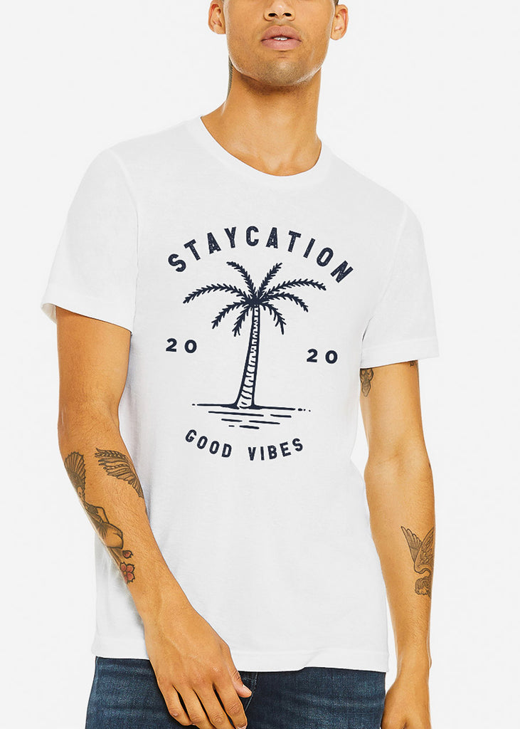 "Mens White Graphic Tee ""Staycation"""