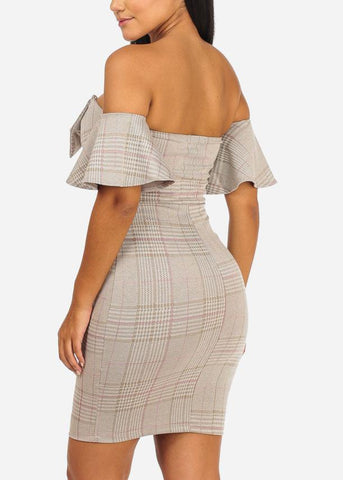 Image of Off Shoulder Pink Mini Plaid Dress