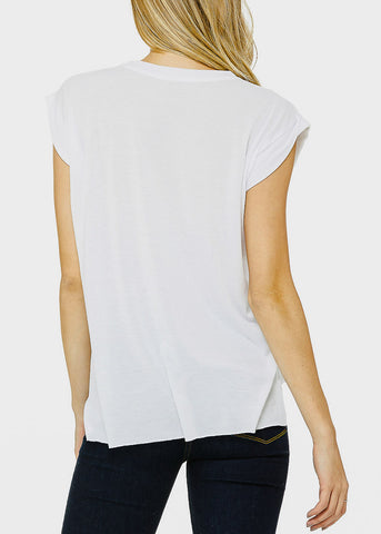 "White Graphic Muscle Tee ""Staycation"""