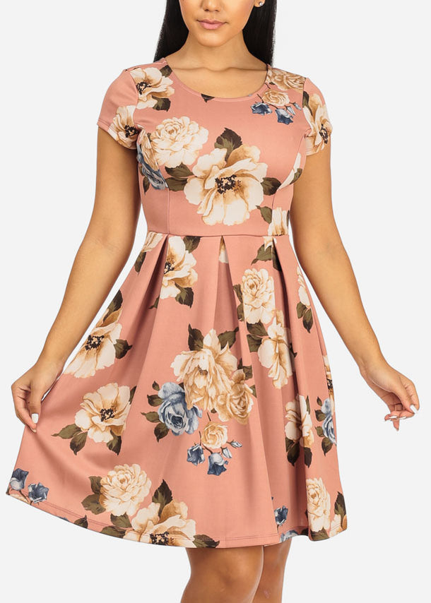 Gilli Brand Short Sleeve Round Neckline Knee Length Fit And Flare Floral Print Mauve Dress