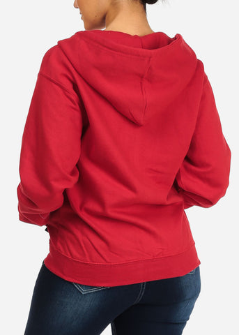 Image of Red Zip Up Hoodie Sweatshirt