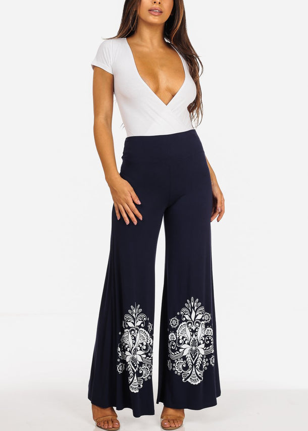 Navy Floral Print Wide Pants