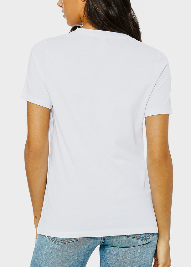 White Graphic V-Neck Tee