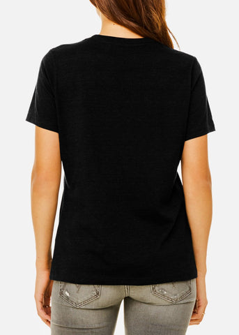 "Black Graphic T-Shirt ""Unshy"""