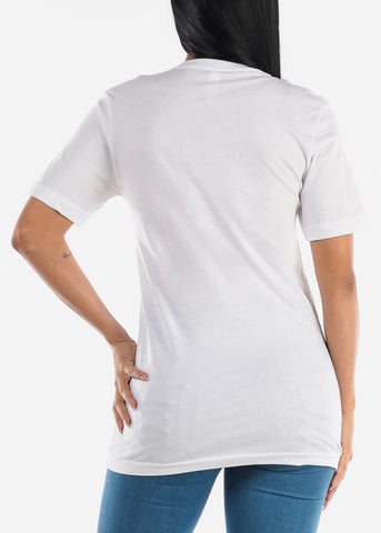 "Image of V-Neck White Graphic Top ""Unshy"""