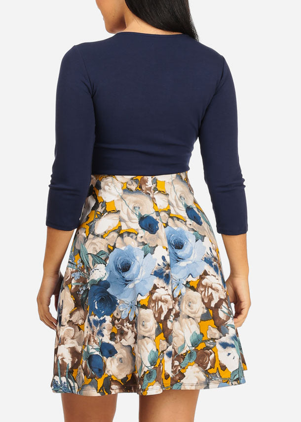 Fit and Flare Navy Floral Dress
