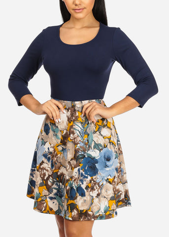 Discount Fit and Flare Navy Floral Dress