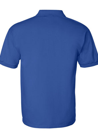 Men Gildan Ultra 100% Heavy Cotton Royal Blue Jersey Sport Shirt Polo