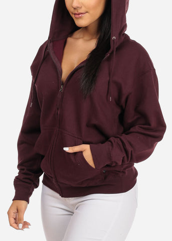 Image of Burgundy Zip Up Sweatshirt Hoodie