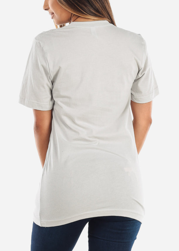 Crew Neck Basic Silver Jersey Tee