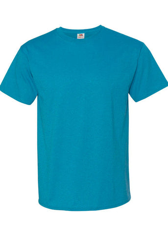 Men's Fruit of the Loom 50/50 Crew Neck Retro Heather Turquoise Tshirt