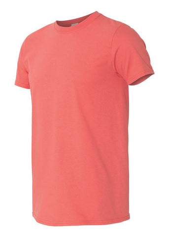 Men's Gildan Softstyle 100% Cotton Crew Neck Coral Tshirt