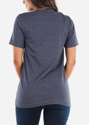 Crew Neck Basic Heather Navy Tee