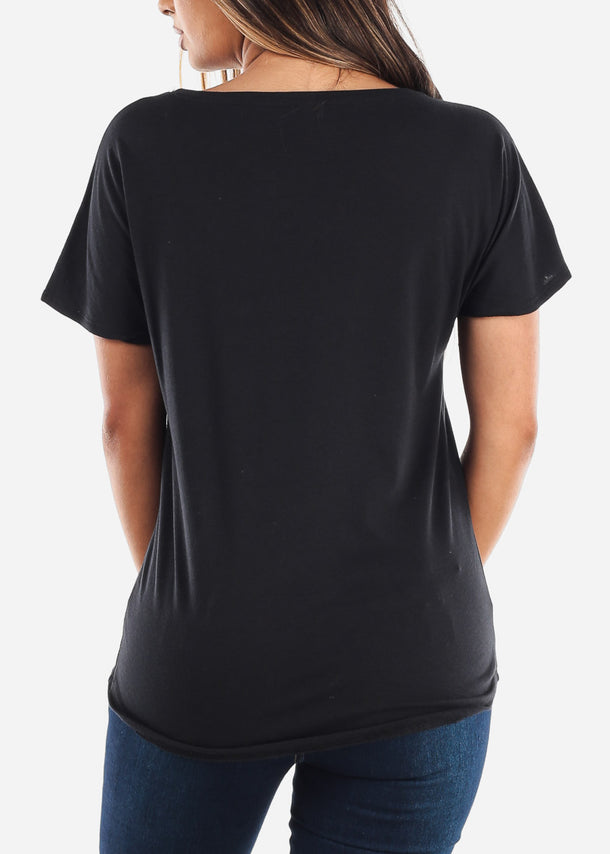Scoop Neck Dolman Light Dolman Black Tshirt