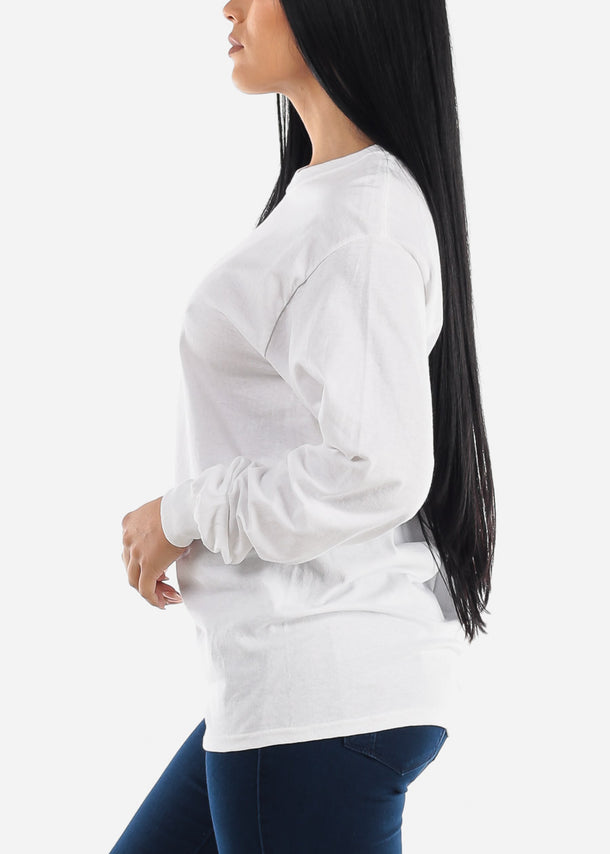 Oversized Long Sleeve White Cotton T-Shirt