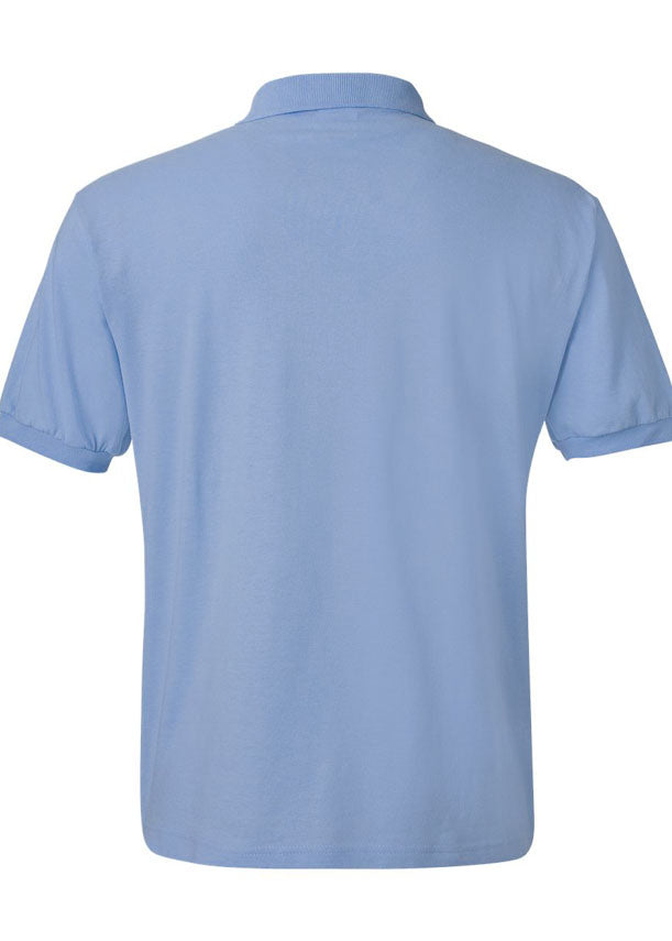 Men's Hanes Ecosmart 50/50 Jersey Sport Shirt Light Blue Polo