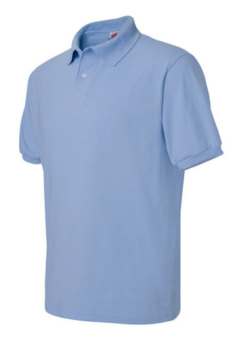 Image of Men's Hanes Ecosmart 50/50 Jersey Sport Shirt Light Blue Polo