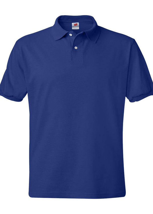 Men's Hanes Ecosmart 50/50 Jersey Sport Shirt Royal Blue Polo
