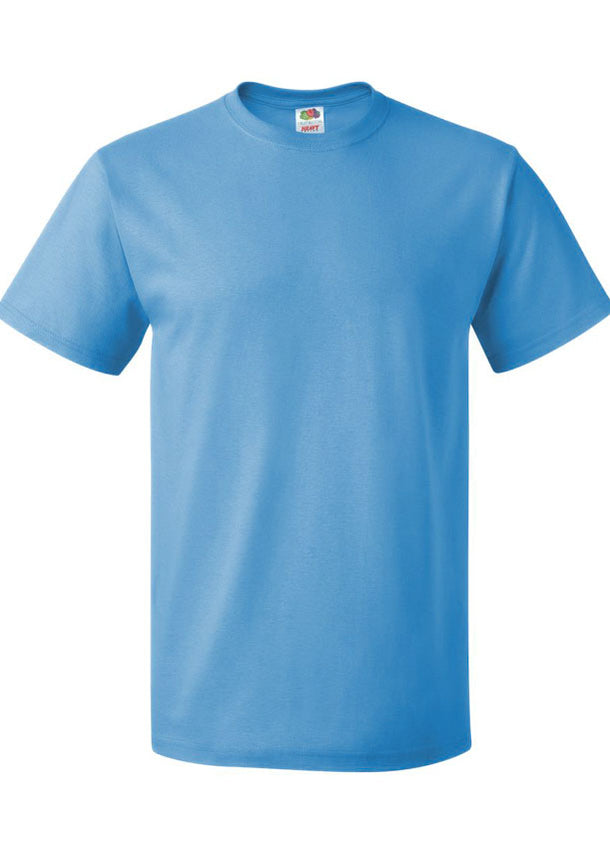 Men's Fruit of the Loom 100% Cotton Crew Neck Aquatic Blue Tshirt