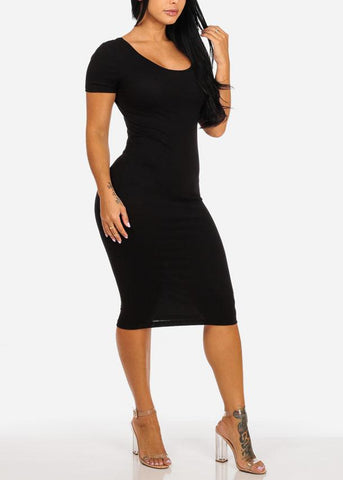 Image of Black Stretchy Bodycon Midi Dress