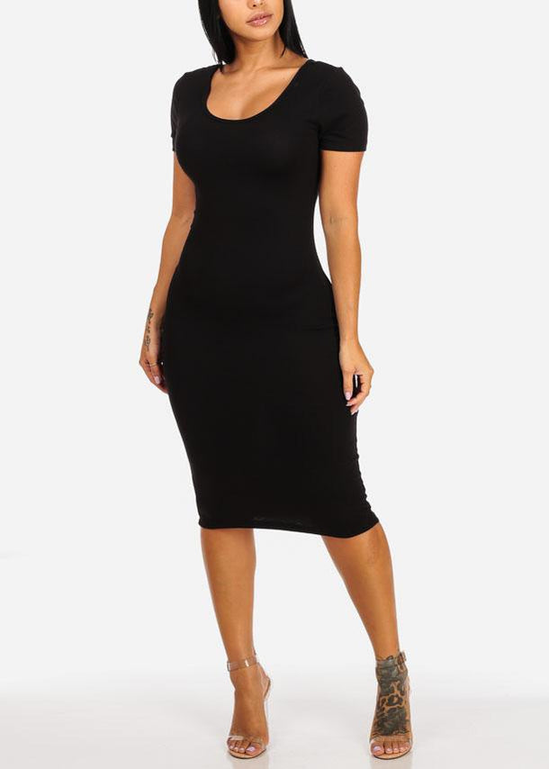 Black Stretchy Bodycon Midi Dress
