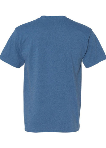 Men's Hanes Ecosmart 50/50 Cotton Crew Neck Heather Blue Tshirt