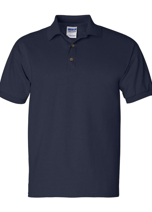 Men's Gildan Ultra 100% Heavy Cotton Navy Jersey Sport Shirt Polo