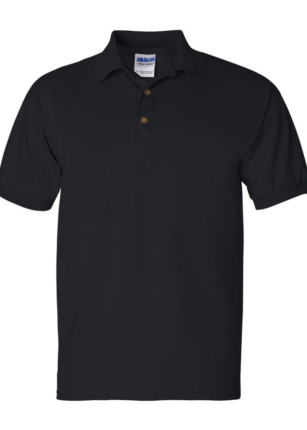 Men's Gildan Ultra 100% Heavy Cotton Black Jersey Sport Shirt Polo