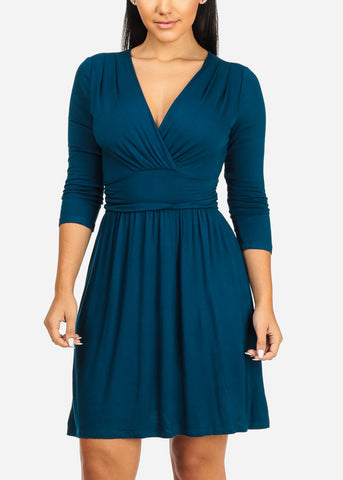 Wrap Around Teal Dress