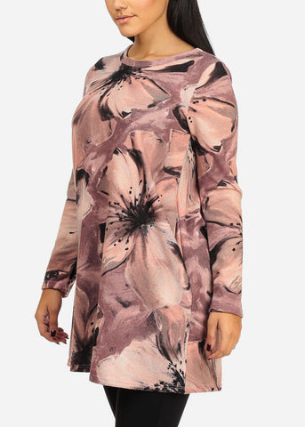Pink Floral Stretchy Tunic Top