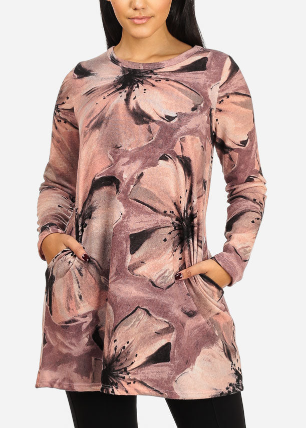 50e0b991651 Cozy Pink Floral Print Long Sleeve Round Neckline Stretchy Tunic Top