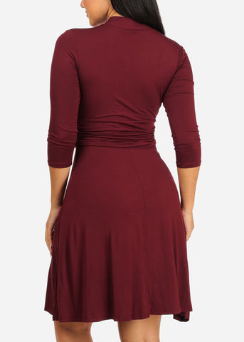 Burgundy Stretchy Flare Dress