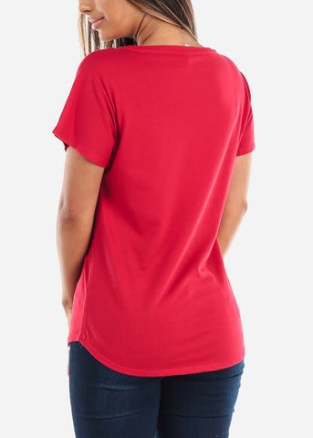 Image of Scoop Neck Dolman Red Tshirt