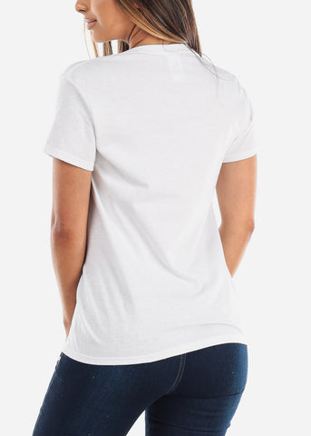 Image of Crew Neck Basic White Tshirt