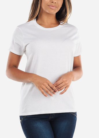 Cheap Crew Neck Basic White Tshirt