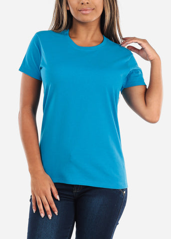 Image of Discount Crew Neck Basic Sapphire Tshirt