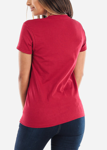 Image of Crew Neck Basic Burgundy Tshirt