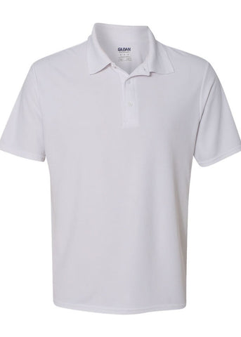 Men's Gildan Performance 100% Polyester Jersey Sport White Polo Shirt