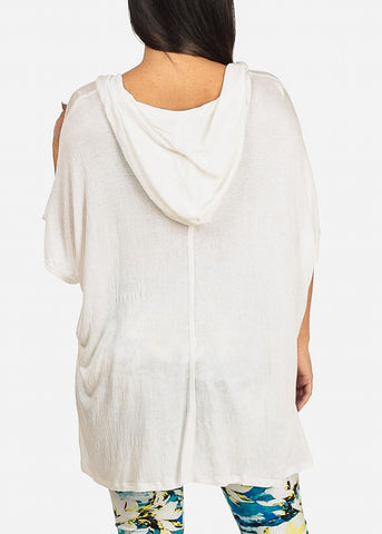 Hooded White Tunic Top
