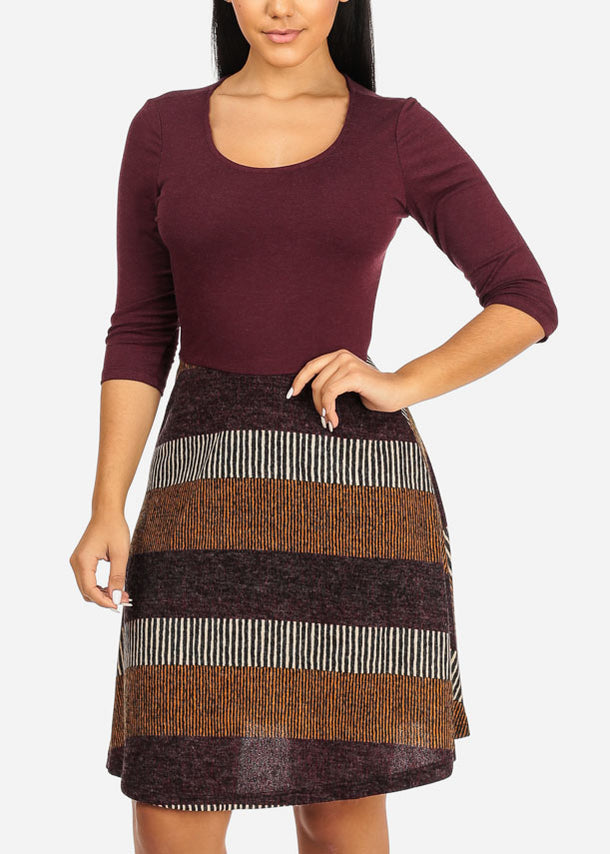 Fit And Flare Burgundy Stripe Dress