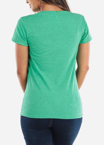 Image of Scoop Neck Basic Heather Green Tshirt