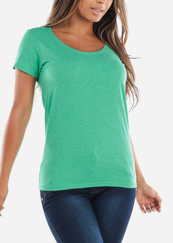 Cheap Scoop Neck Basic Heather Green Tshirt