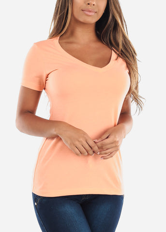 Women's V-Neck Light Orange Tshirt