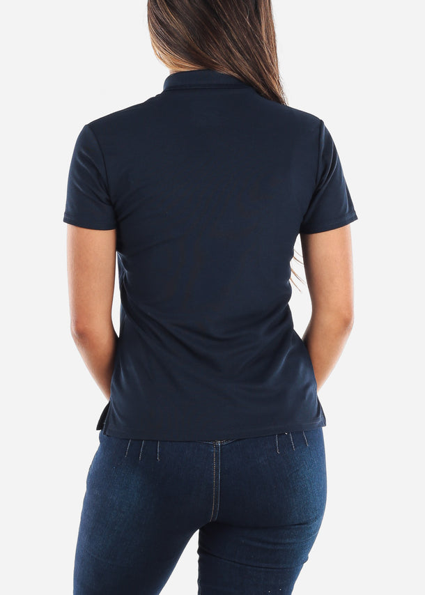 Women's Gildan Navy Polo Shirt