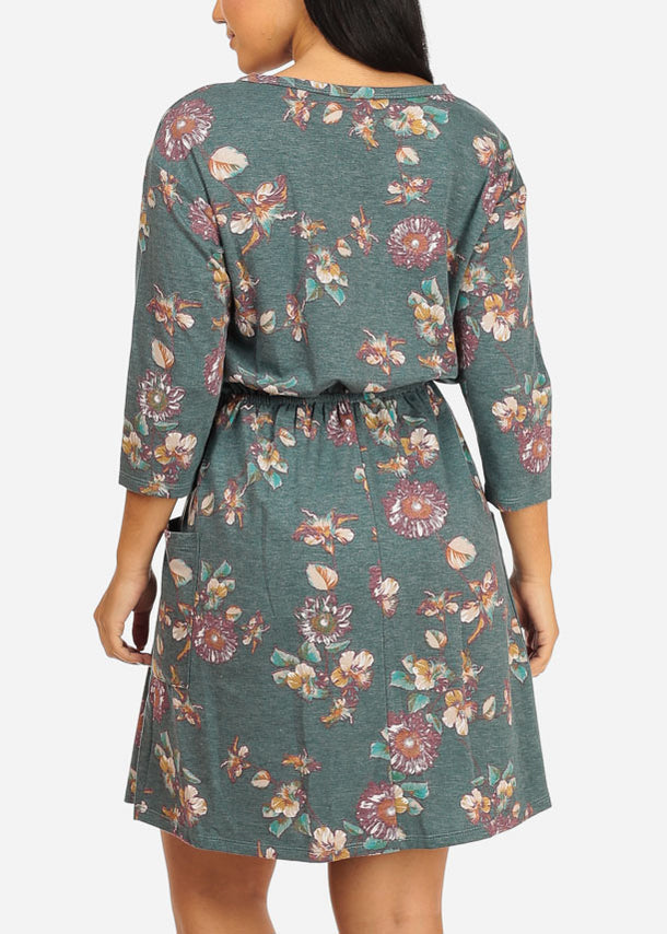Elastic Waist Blue Floral Dress