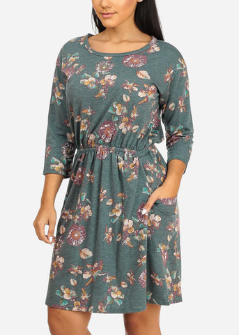 Image of Elastic Waist Blue Floral Dress